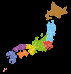 日本地図(地域別)