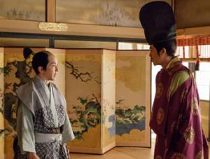 関白・秀次と秀秋らが、秀吉の前で披露するために能を特訓